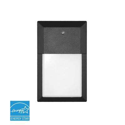 12-Watt Black Outdoor Integrated LED Mini Wall Pack Light in Soft White with Photocell