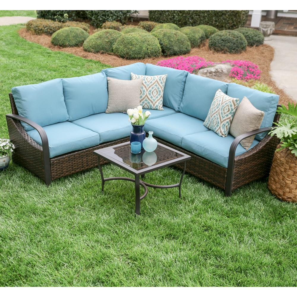 Leisure Made Trenton 4 Piece Wicker Outdoor Sectional Set With Blue