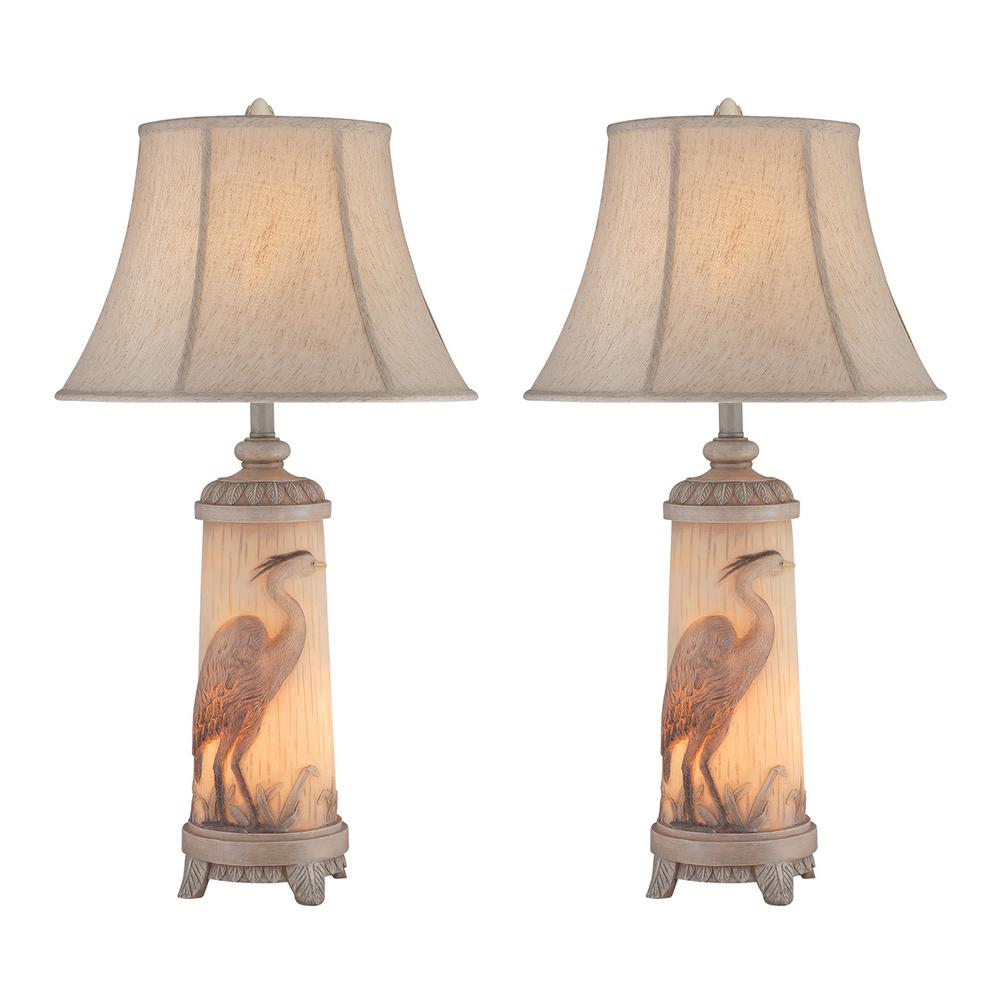 32 in. Ivory Indoor Table Lamp Set