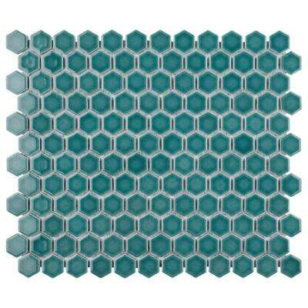 Tribeca Hex Jade 10-1/4 in. x 11-7/8 in. x 6 mm Porcelain Mosaic Tile