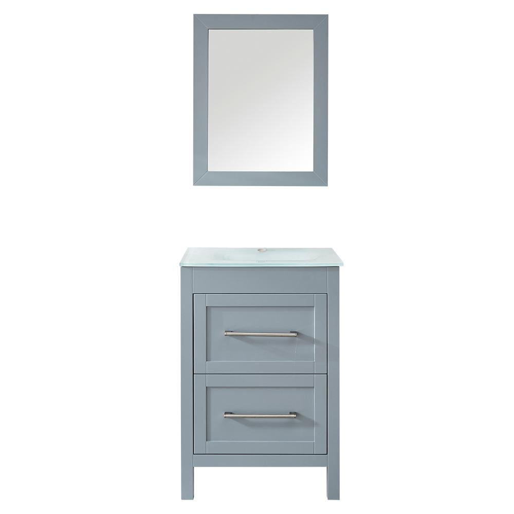 best sneakers 66547 8f0f2 Mediterraneo Bologna 24 in. H x 18 in. D x 18 in. W Bath Vanity in White  PVC Vanity Top in White Vitreous China, White Basin, Mirror