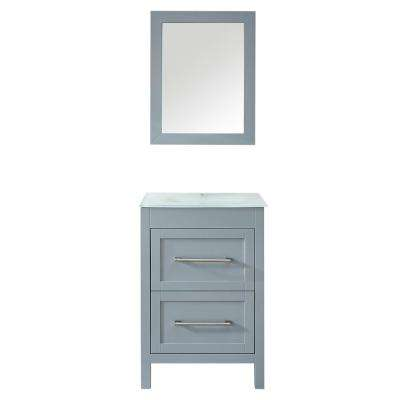 Bologna 24 in. H x 18 in. D x 18 in. W Bath Vanity in White PVC Vanity Top in White Vitreous China, White Basin, Mirror