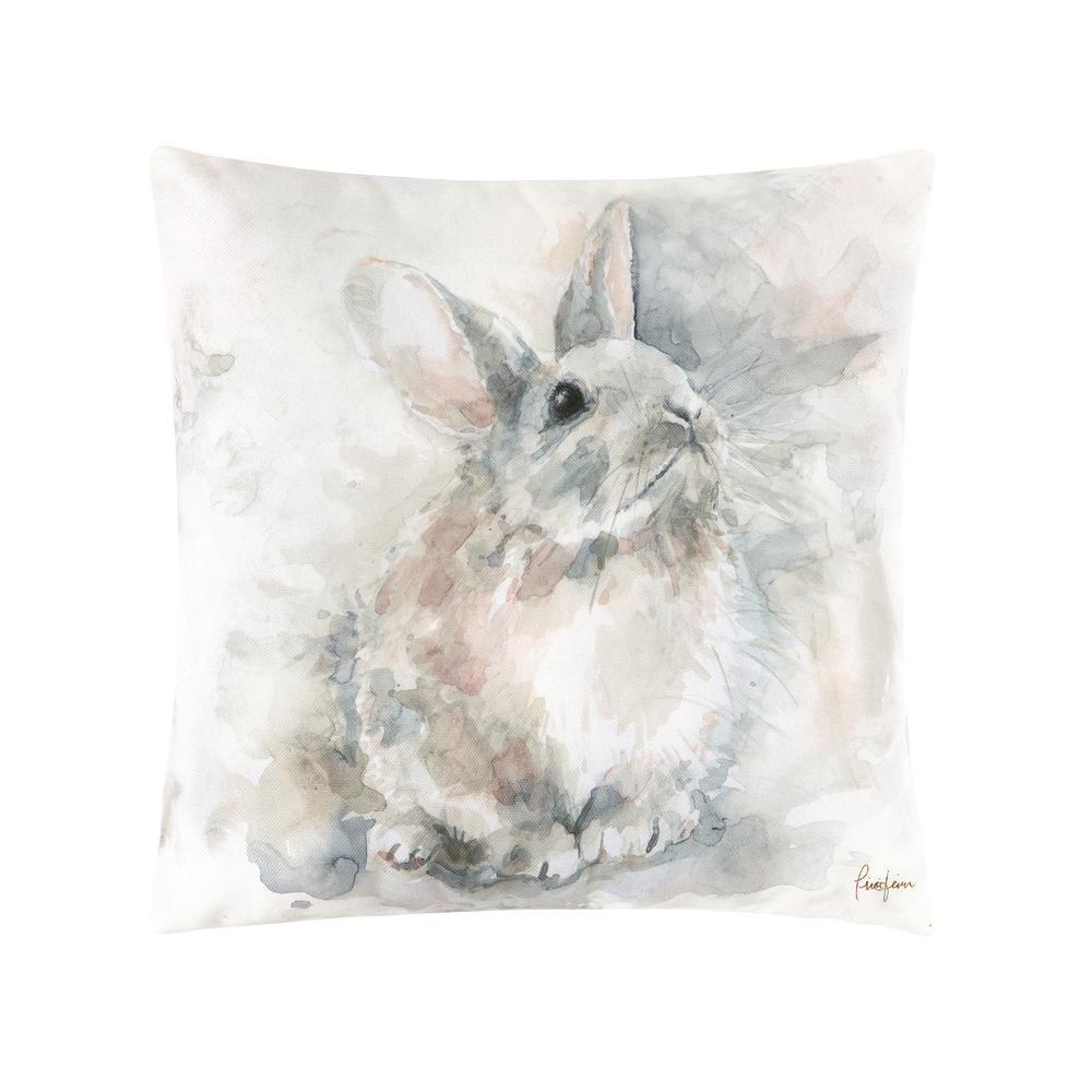 Gray Watercolor Rabbit Indoor/Outdoor 18 in. x 18 in. Standard Throw Pillow