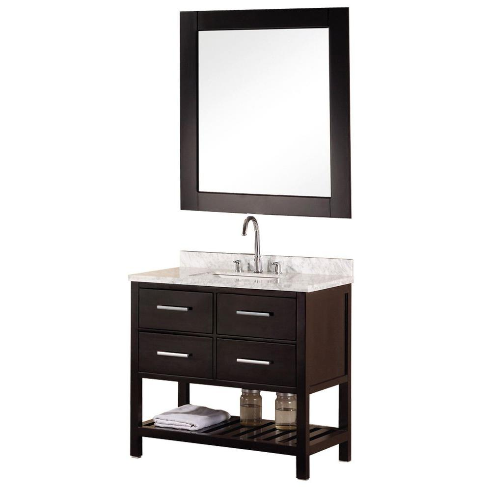 Design Element Mission 36 in. W x 22 in. D Vanity in Espresso with Marble Vanity Top and Mirror in Carrera White