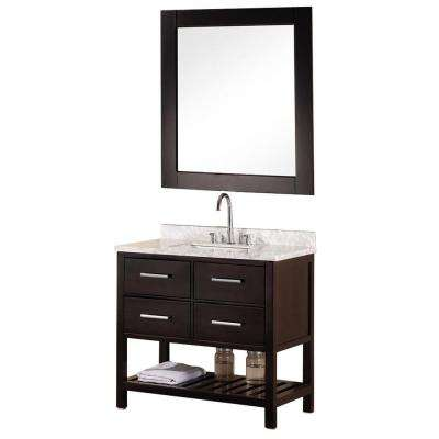 Mission 36 In W X 22 D Vanity Espresso With Marble
