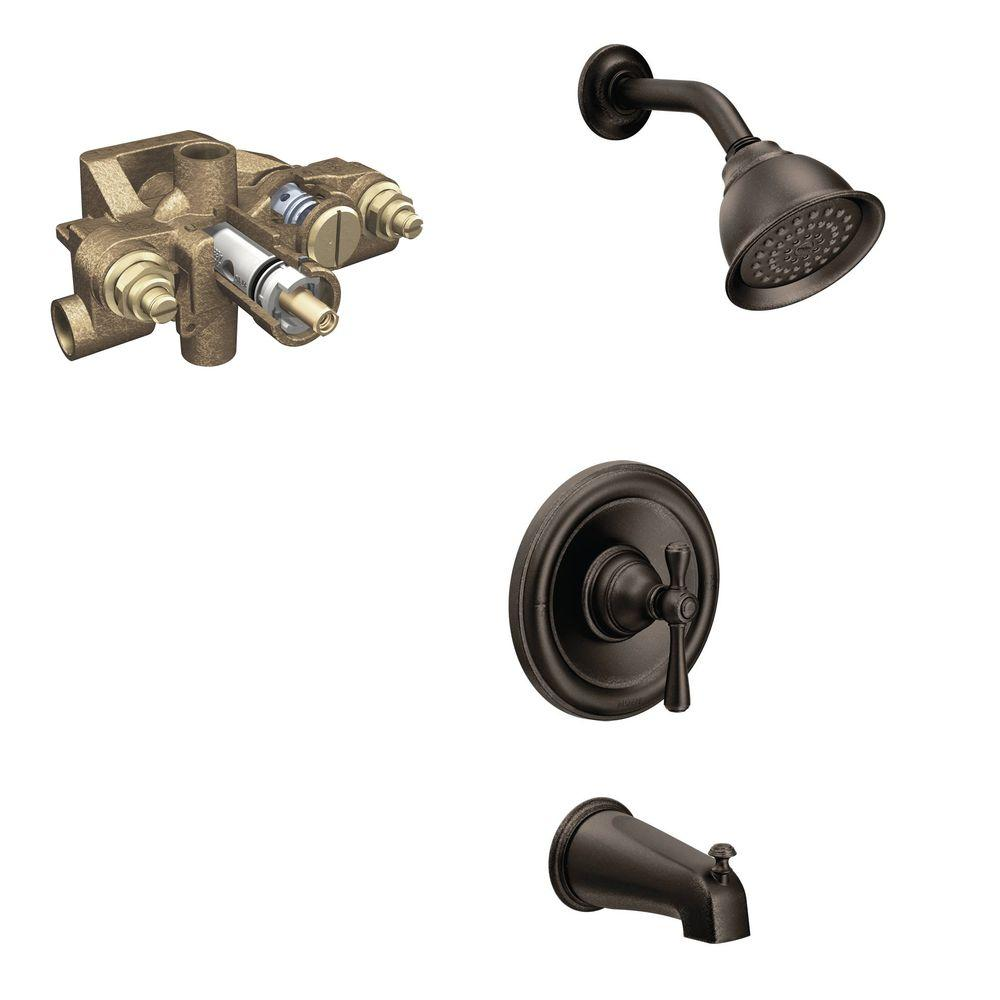 MOEN Kingsley Single Handle 1 Spray Tub And Shower Faucet Trim Kit With  Valve In Oil Rubbed Bronze (Valve Included) T3113ORB 3570   The Home Depot