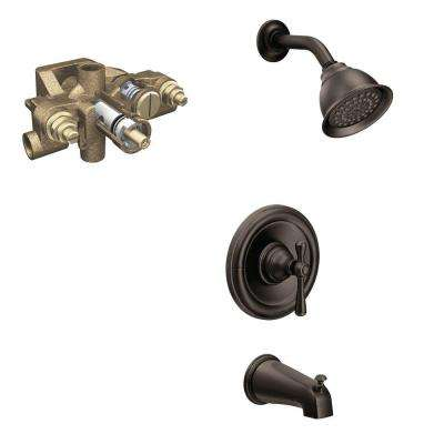 Kingsley Single-Handle 1-Spray Tub and Shower Faucet Trim Kit with Valve in Oil Rubbed Bronze (Valve Included)