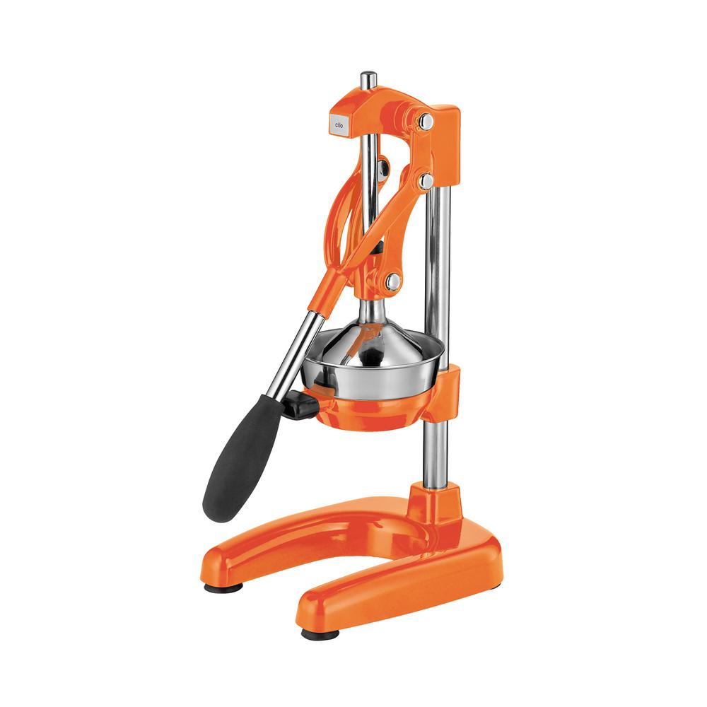 Commercial Cast Aluminum Orange Lever Pull Citrus Press The Cilio Citrus press is the one and only needed. Press oranges, grapefruits, limes and lemons. So easy to use. Put a glass on the base, place a fruit half on the raised cone and press the handle down. Minimal effort and clean up. Color: Orange.