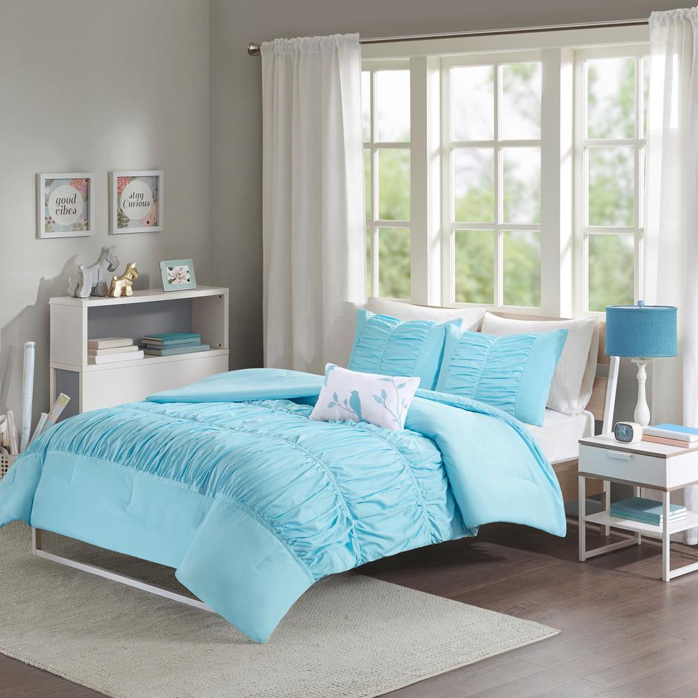 Mi Zone Tatiana 4-Piece Aqua Full/Queen Solid Comforter Set MZ10-077