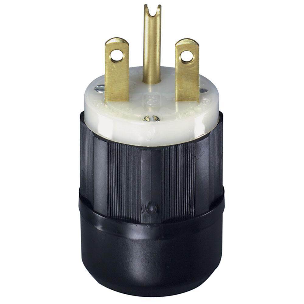 Leviton 15 Amp 250-Volt Straight Blade Grounding Plug, Black/White ...