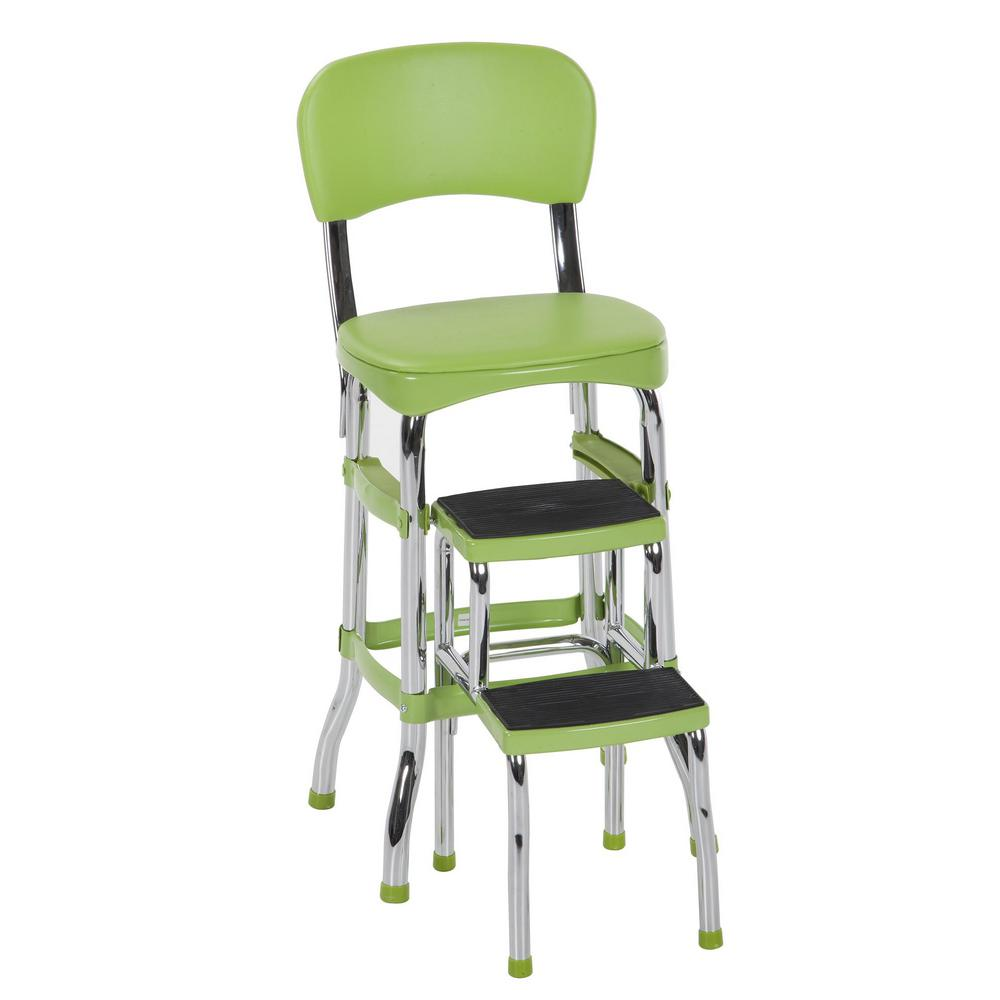 Pleasing Cosco 2 Step 3 Ft Aluminum Retro Step Stool With 225 Lb Load Capacity In Green Inzonedesignstudio Interior Chair Design Inzonedesignstudiocom