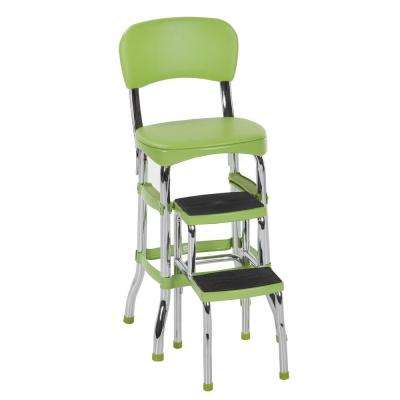 2-Step 3 ft. Aluminum Retro Step Stool with 225 lb. Load Capacity in Green