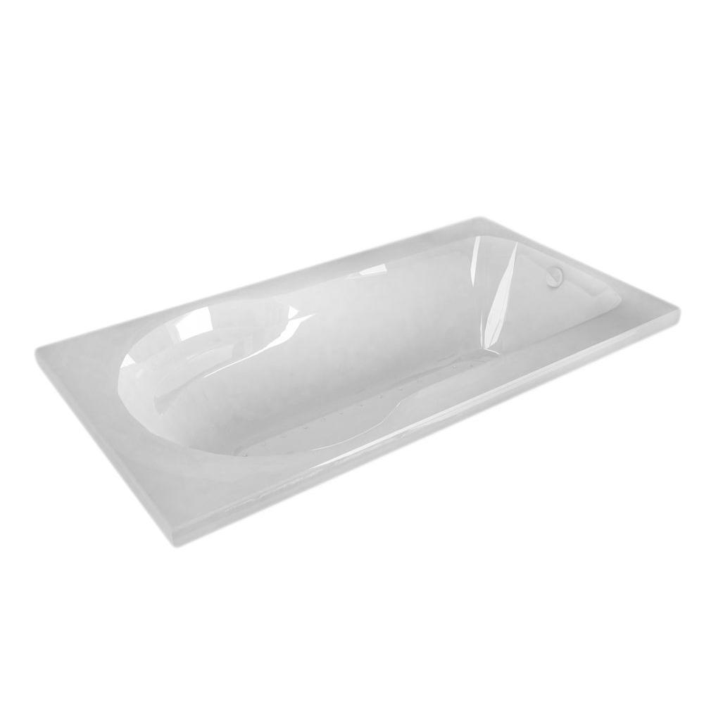 Universal Tubs Zircon 5 ft. Left Drain Rectangular Drop-in Whirlpool and Air Bath Tub in White