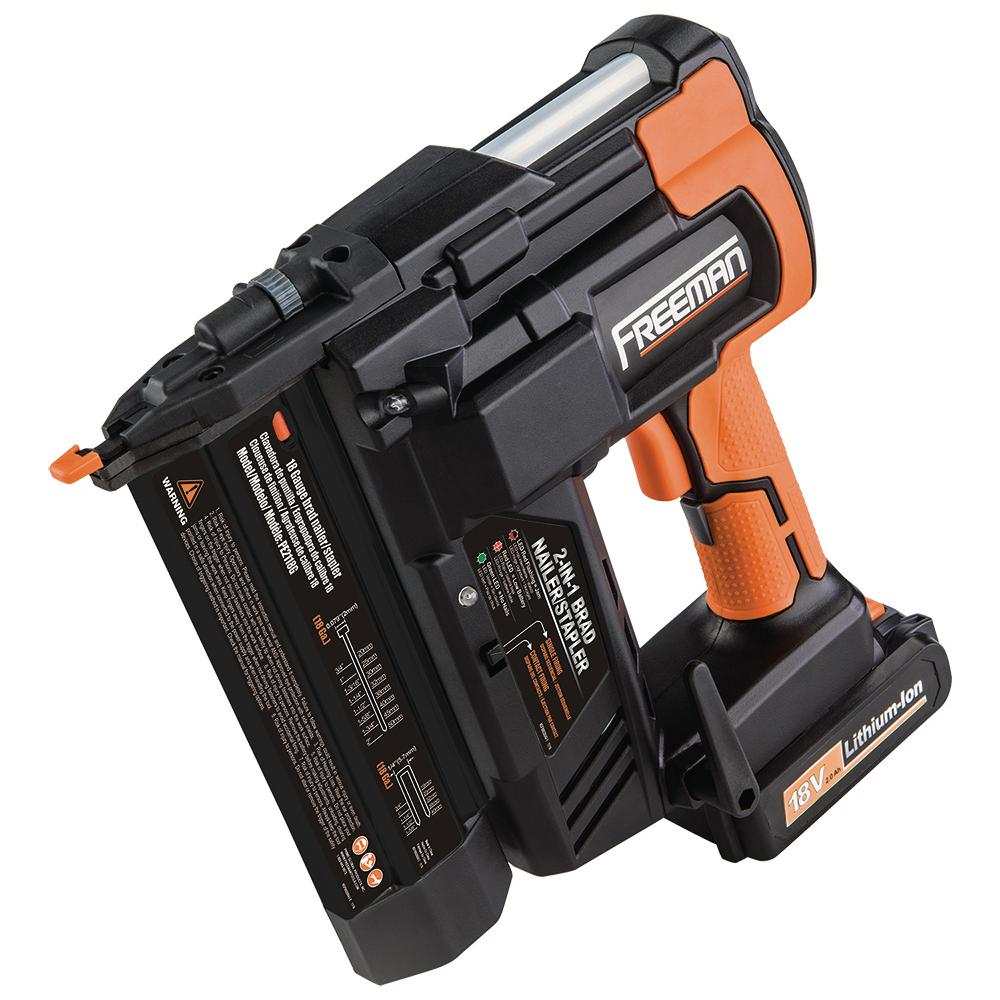 Freeman 18-Volt 2-in-1 18-Gauge Cordless Nailer and Stapler with Lithium Ion Batteries