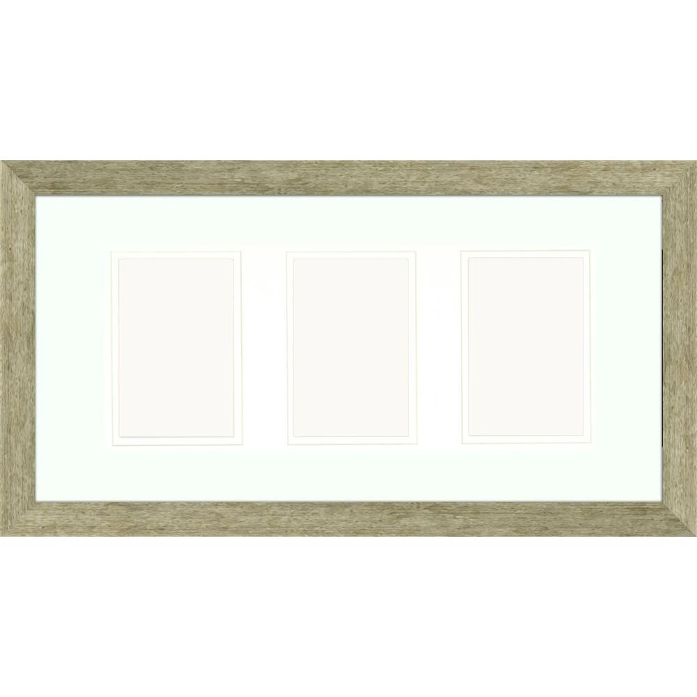 3-Opening 4 in. x 6 in. Matted Champagne Photo Collage Frame