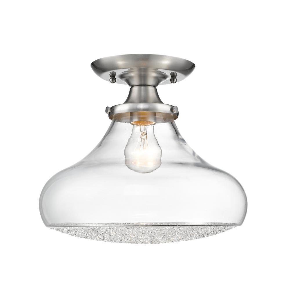 Asha 1-Light Large Pewter Semi-Flush Mount Light