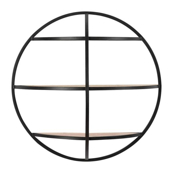24 in. Diameter x 8 in. D Home Decorators Collection Round Wood and Black Metal Wall-Mount Bookshelf