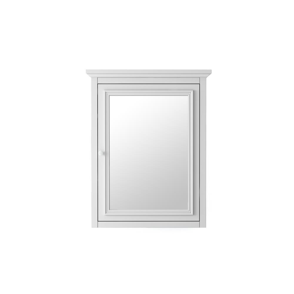 Fremont 24 in. W x 30 in. H Framed Rectangular Beveled Edge Bathroom Vanity Mirror in White