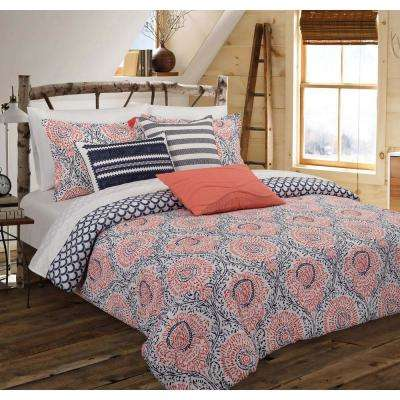 Floral Block King Comforter Set
