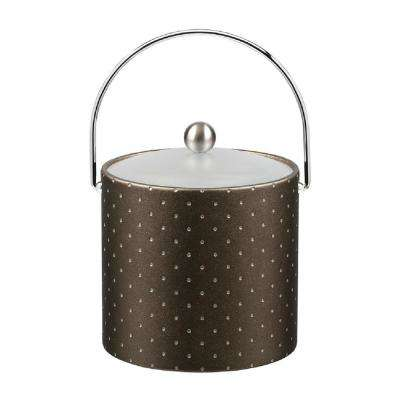 3 Qt. Nova Pewter Ice Bucket with Bale Handle and Acrylic Lid with Metal Ball Knob