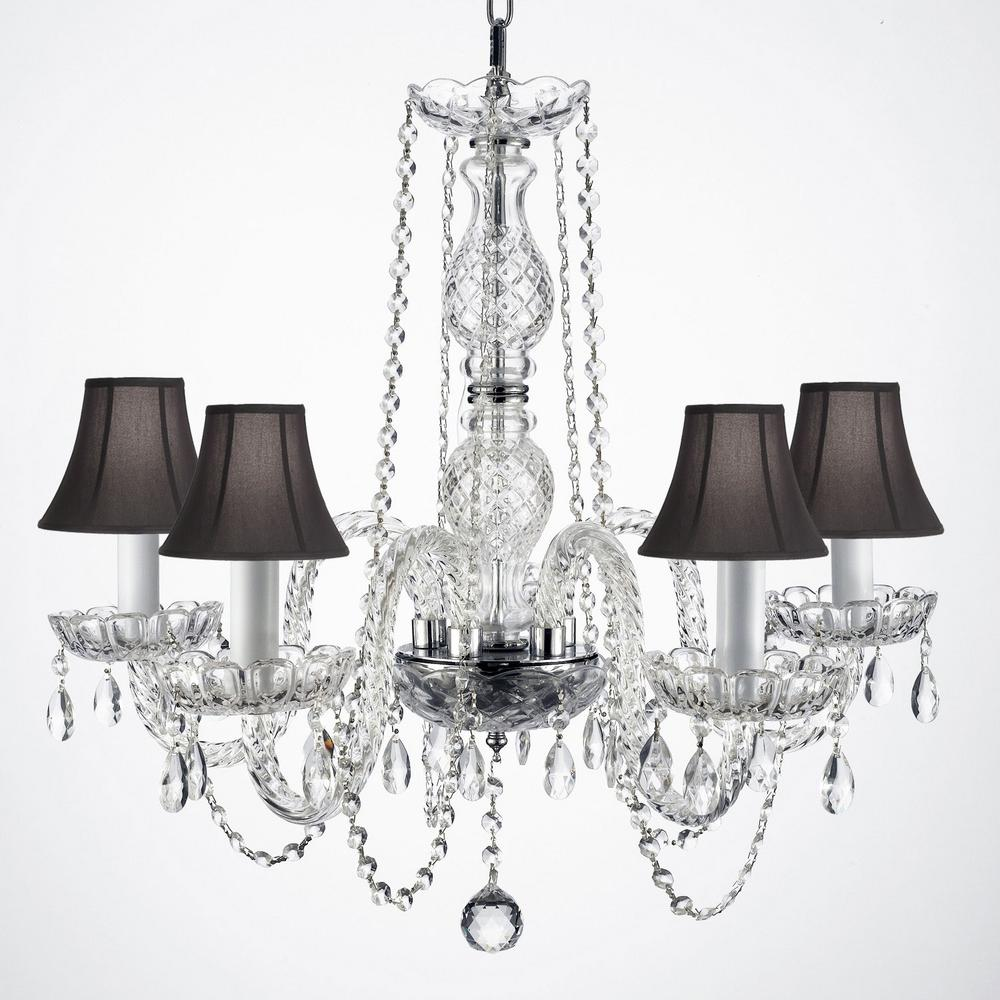 Empress Crystal 5 Light Clear Chandelier With Black Shades