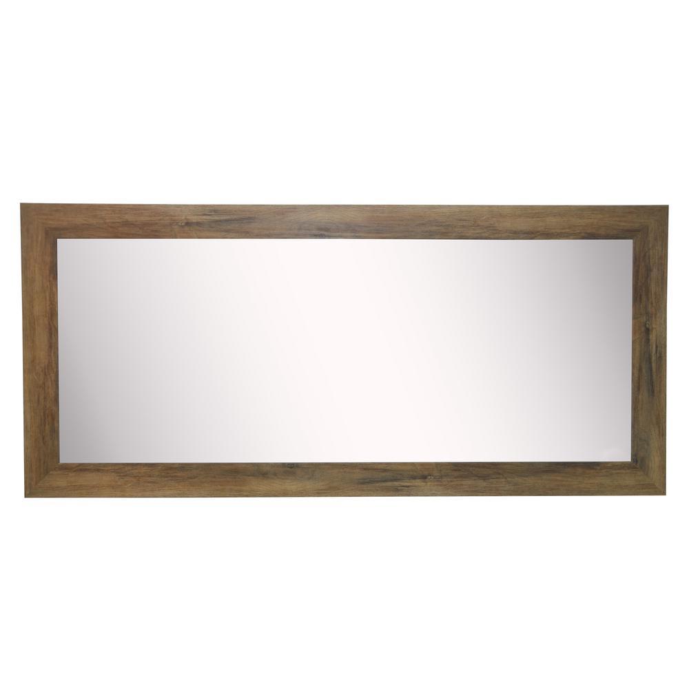 34 in. W x 67 in. H Framed Rectangular Bathroom Vanity Mirror in Light Brown Wood