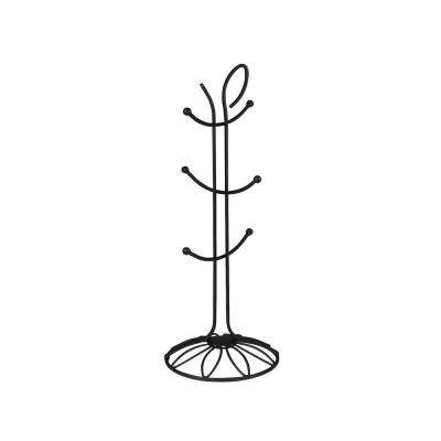 Leaf 6.25 in. W x 6.25 in. D x 16.25 in. H 6-Tier Jewelry Holder in Black