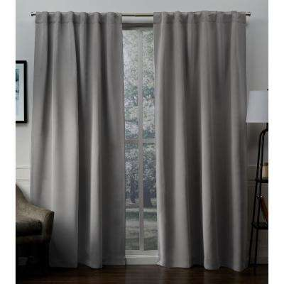 Sateen Veridian Gray Woven Blackout Hidden Tab Top Curtain - 52 in. W x 84 in. L