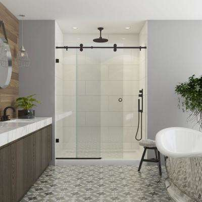 Model 8800 60 in. x 76 in. Frameless Sliding Shower Door in Bronze with Circular Thru-Glass Door Pull
