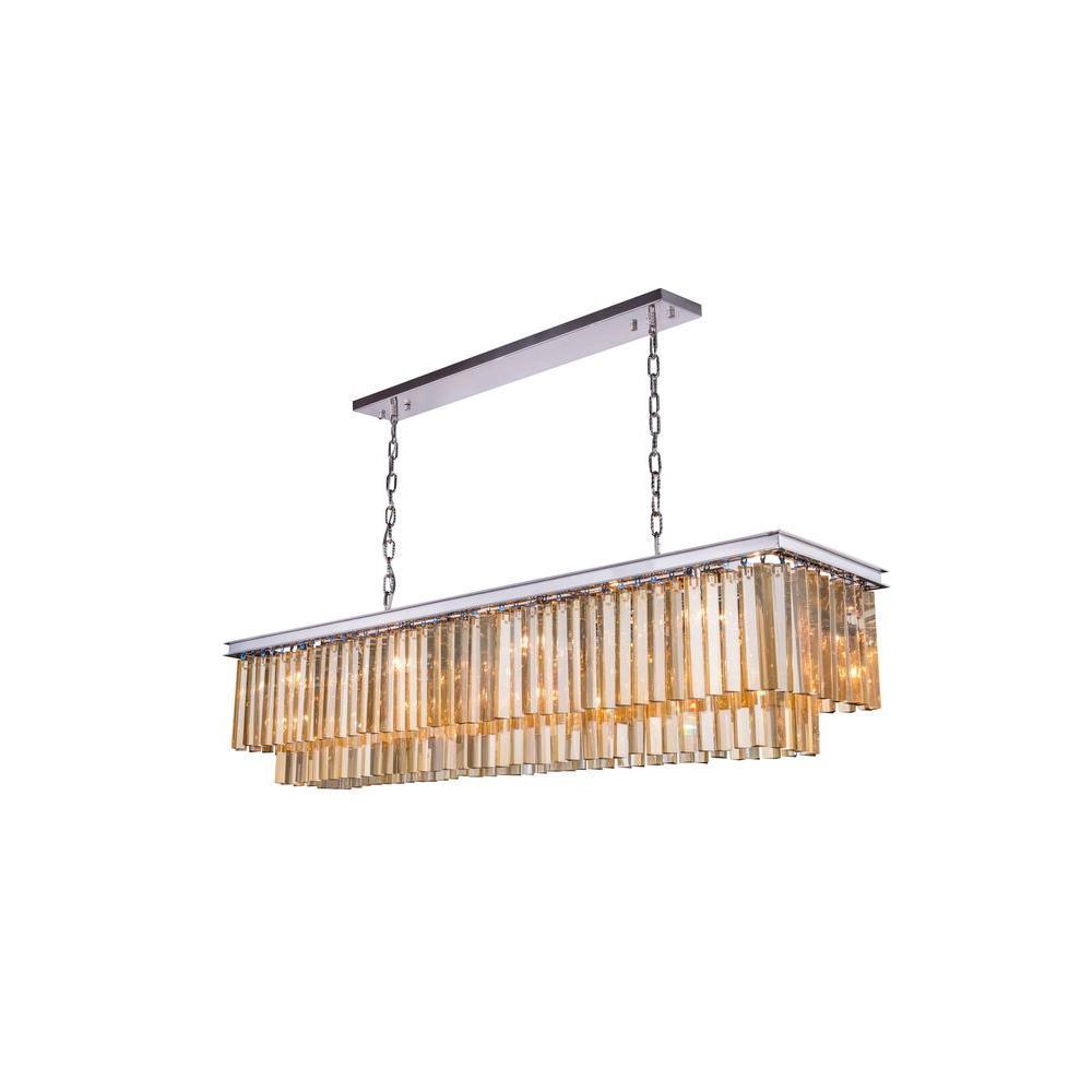 Elegant Lighting Sydney 12-Light Polished Nickel Chandelier with Golden Teak Smoky Crystal