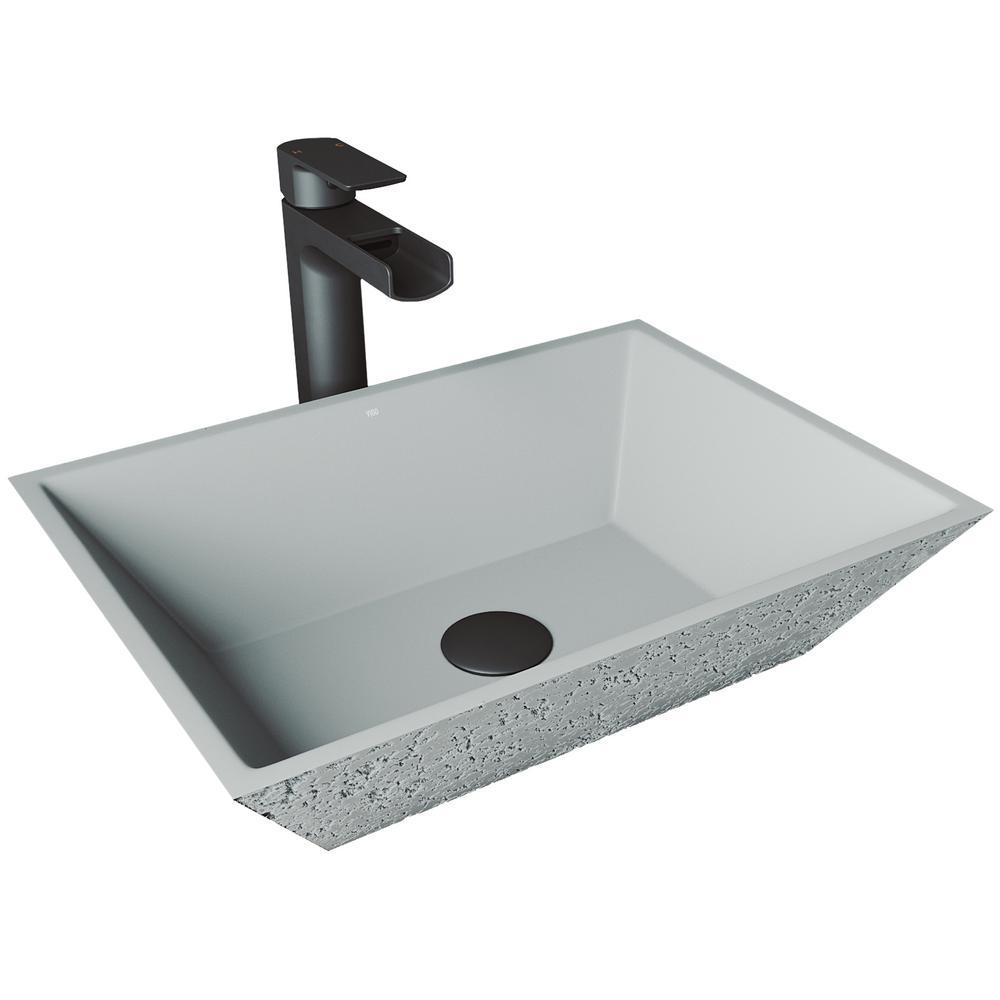 Calendula Concrete Vessel Sink in Ash with Faucet in Matte Black