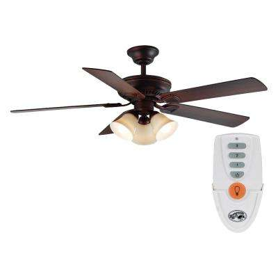 Campbell 52 in. LED Indoor Mediterranean Bronze Ceiling Fan with Light Kit and Remote Control
