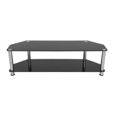TV Stand for TVs up to 65 in. Black Glass Chrome Legs