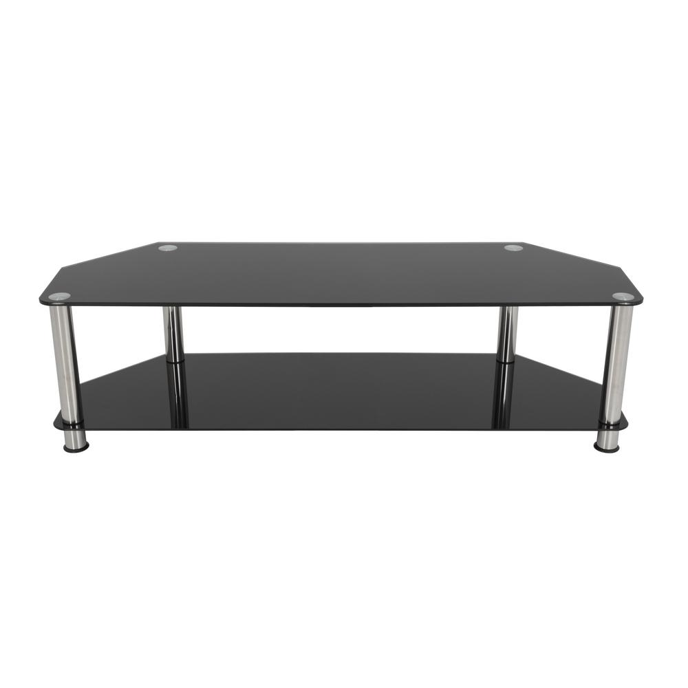 AVF TV Stand For TVs Up To 65 In. Black Glass Chrome Legs