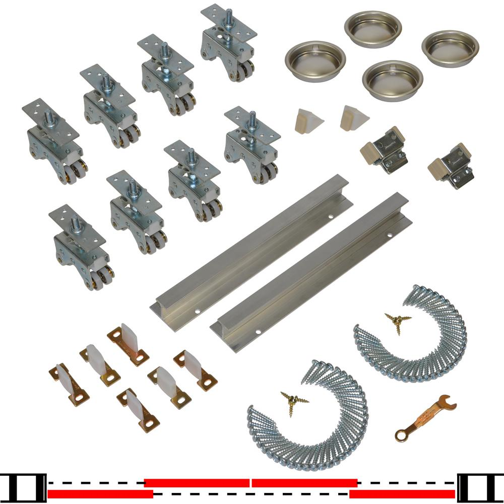 Johnson Hardware 200SD Series 96 In. Track And Hardware Set For 4 Door  Bypass