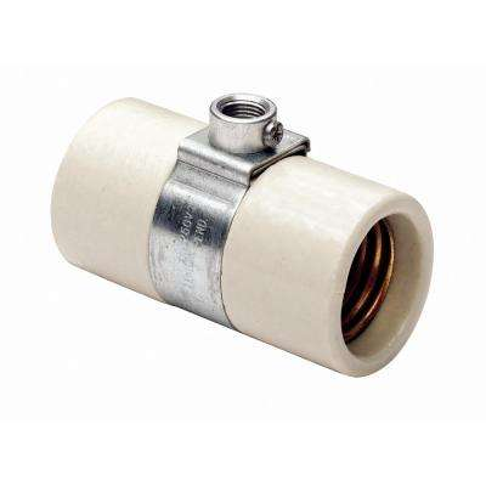 660W Medium Base One-Piece Single Circuit Keyless Glazed Porcelain Dual Socket Incandescent Lampholder, White