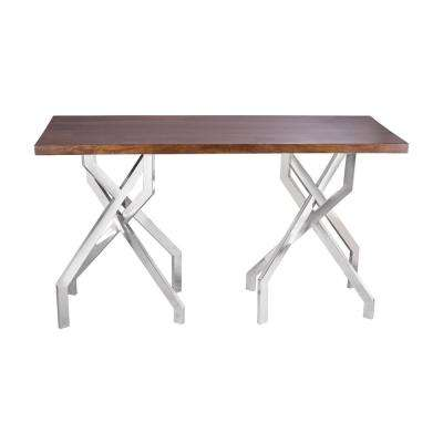 Lydia Medium Woodtone And Stainless Steel Console Table