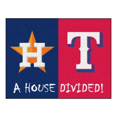 MLB House Divided - Astros / Rangers 33.75 in. x 42.5 in. House Divided Mat Area Rug