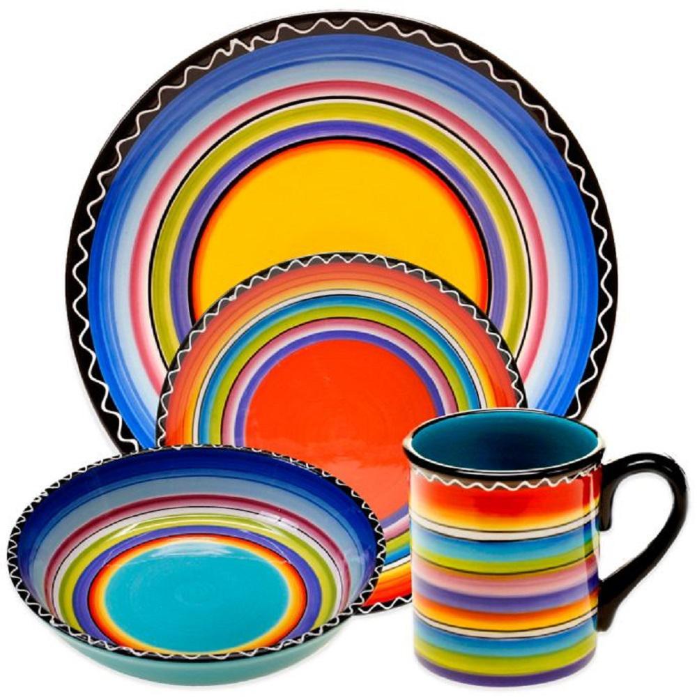 Tequila Sunrise 16-Piece Multi-color Dinnerware Set