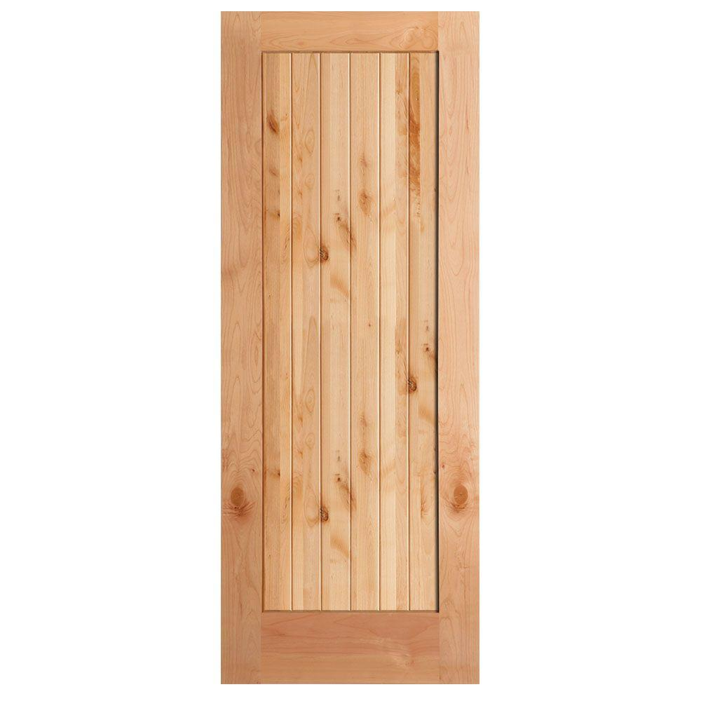 Attirant This Review Is From:40 In. X 84 In. Knotty Alder 1 Panel Shaker V Groove  Solid Wood Interior Barn Door Slab