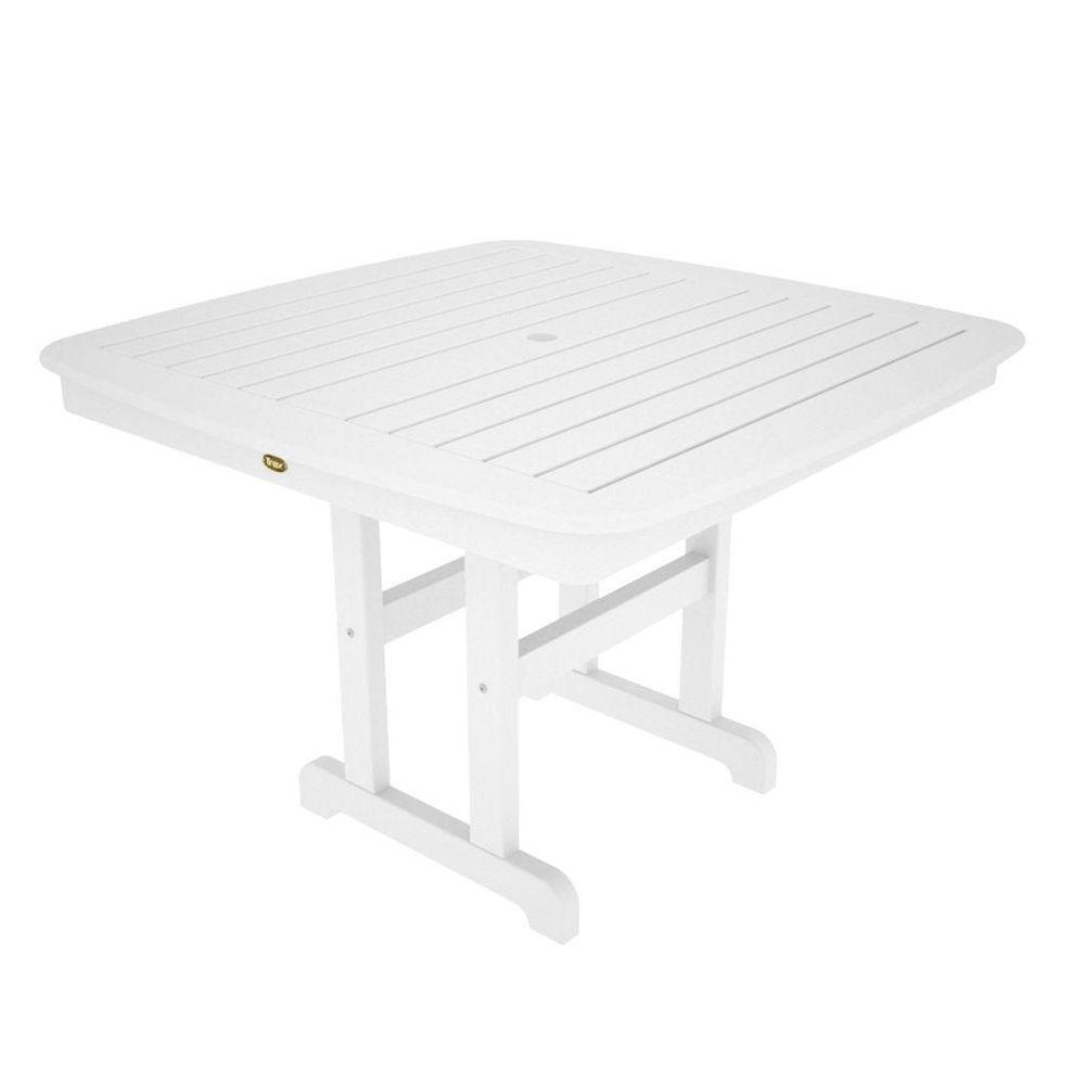 Yacht Club 44 in. Classic White Patio Dining Table