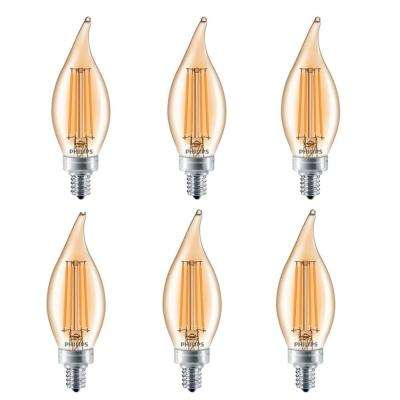40-Watt Equivalent BA11 Dimmable LED Light Bulb Soft White Clear Glass Candelabra (6-Pack)