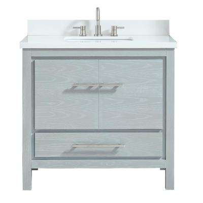 Riley 37 in. W x 22 in. D Bath Vanity in Sea Salt Gray with Engineered Stone Vanity Top in White and White Basin