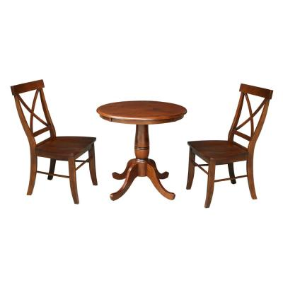 3-Piece Set, Espresso Solid Wood 30 in. Round Table and 2X Back Side Chairs