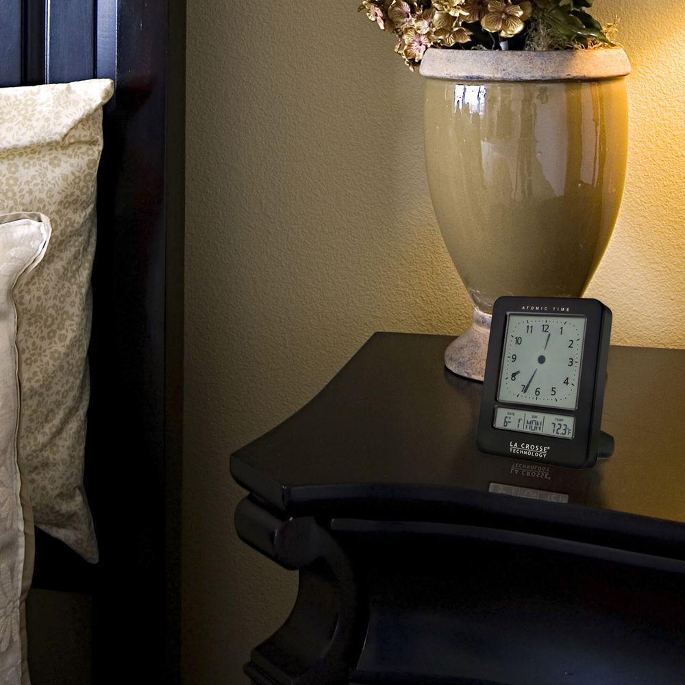 Analog-Style 2.85 in. x 3.65 in. Black Atomic Digital Alarm Table Clock