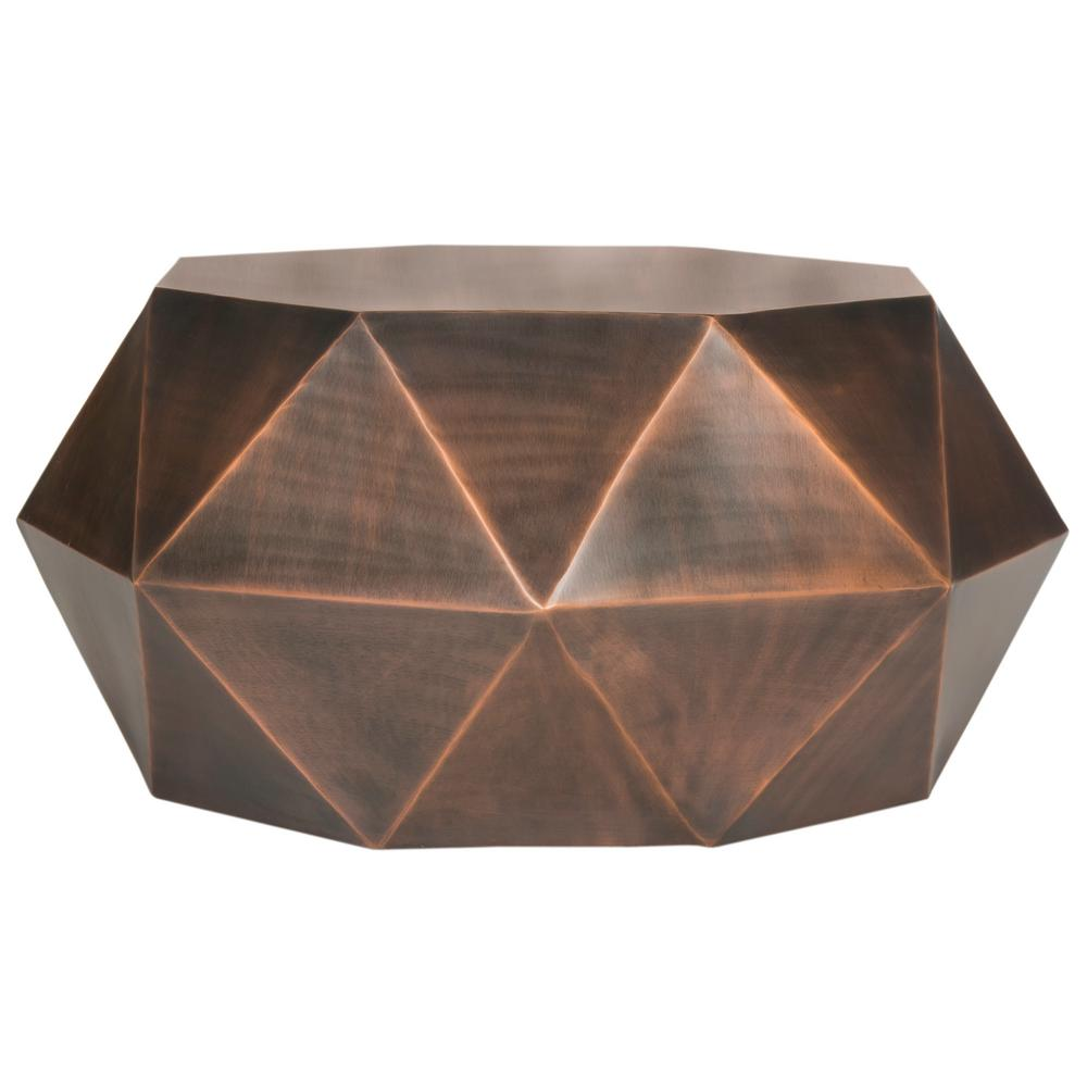 Copper Top Outdoor Coffee Table: Safavieh Astrid Faceted Copper Coffee Table-FOX3223B