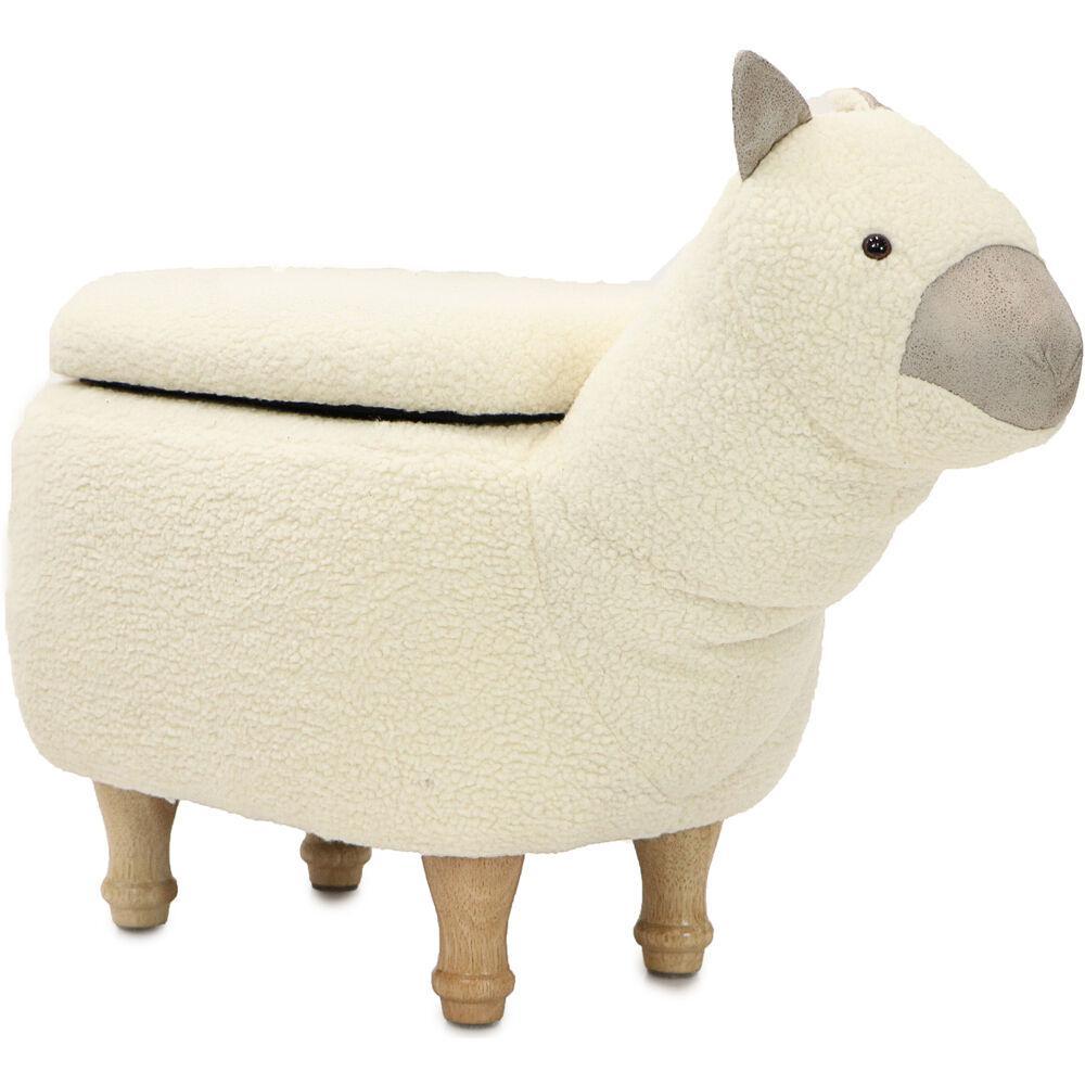 White Llama Plush Animal Shape Storage Ottoman