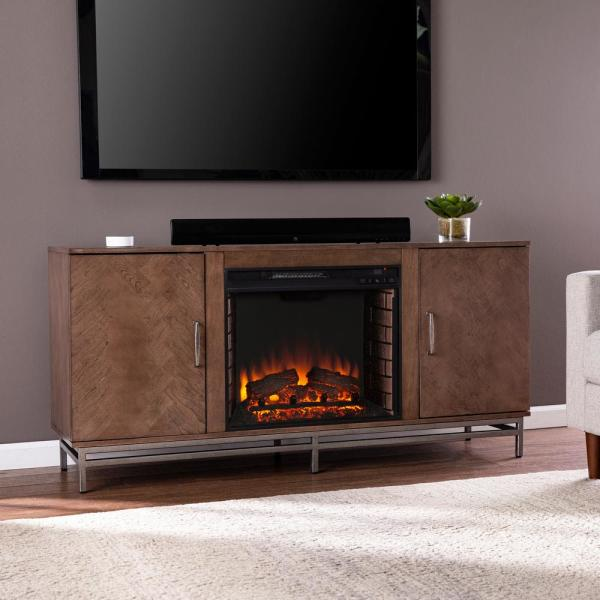 Oliver 60 in. Electric Fireplace in Brown with Matte Silver
