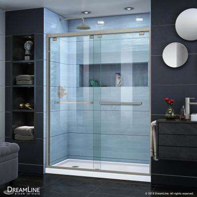 Encore 32 in. D x 60 in. W x 78.75 in. H Semi-Frameless Sliding Shower Door in Brushed Nickel with White Base