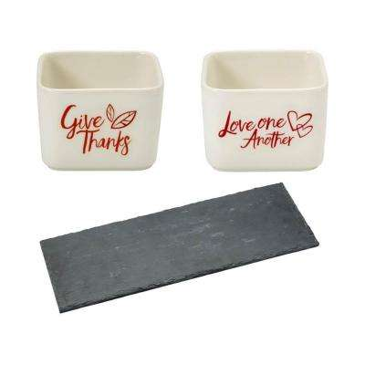 Slate Cheese Tray, Square Porcelain Give Thanks and Love One Another Appetizer Bowls